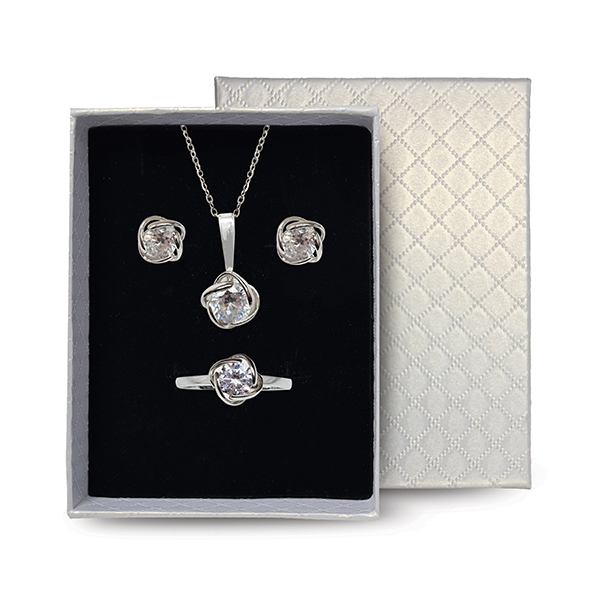 Sterling Silver Rose Jewellery Set Product Image